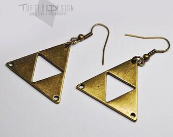 triforce earrings, triforce dangle earrings, legend of zelda triforce earrings, geometric earrings, courage power wisdom earrings, triangle