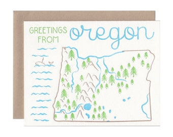 Oregon letterpress card, Oregon map, moving announcements, greeting card