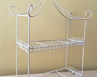 Vintage White Metal Wire Shelf