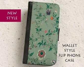 Phone  flip case - Vintage Floral Wallpaper Design - Wallet style case - iPhone 4,5,6,Plus,SE & Samsung Galaxy S3,S4,S5,S6,S7 Edge,Note 5