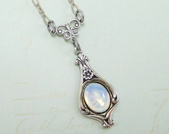 White Opal Necklace Pendant Vintage Swarovski Jewels Bridal Wedding Downton Abbey Victorian