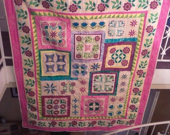 Beautiful embroidered flower garden quilt