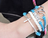 5 Strand White and Blue Infinity, Love / Heart, Cross Bracelet - 5 Strand Leather Braided Wrapped Cross Bracelet