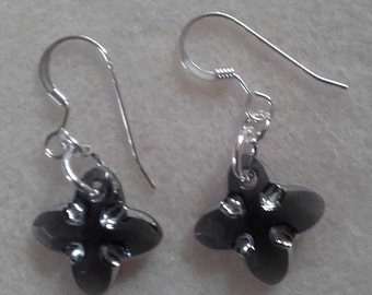Hand made Black Tribe stone  swarovski crystal earrings on sterling silver wires