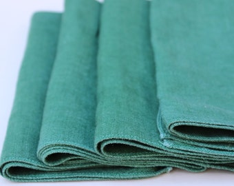 4 Linen Napkins vintage dark green