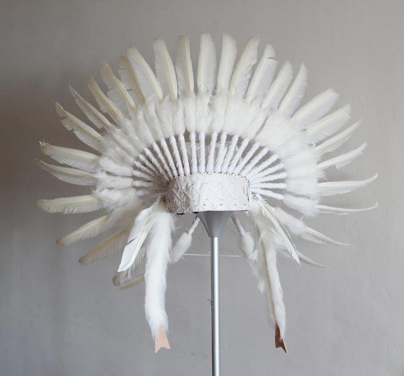 From 5-8 years Kid / Child's: Indian white swan  feather Headdress 21 inch. – 53,34 cm.