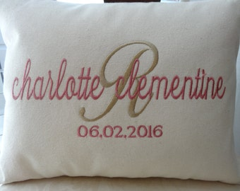 "Personalized Baby Gift - unique monogrammed baby gift -Pillow - 16""x12"" - pillow - insert included"