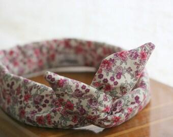 Headband retro-headband - liberty - pink and fuchsia
