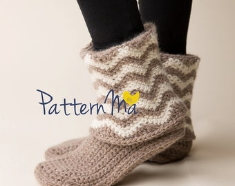 Crochet Women's Slippers Boots Chevron (size 5-12)