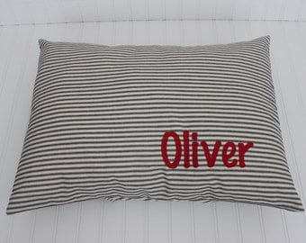 Ticking Pet Bed Cover - Personalized Dog Bed Cover - Farmhouse Pillow - Floor Pillow - Shabby Chic - Custom Pet Gift