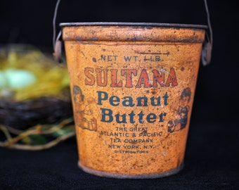 Metal Peanut Butter Tin, Antique, Sultana, vintage collectible  Peanut Butter Tin, #1259