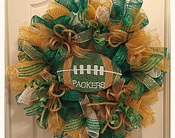 Green Bay Packers Deco Mesh Wreath/Packers Wreath/NFL Green Bay Packers Wreath/Football Wreath/Green Gold Packers Wreath/Packers Wreath