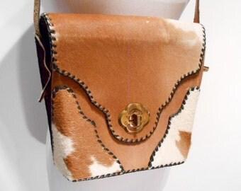 Vintage ArtMex Calfhair Whipstitched Shoulder Bag Convertible Purse, c. 1960