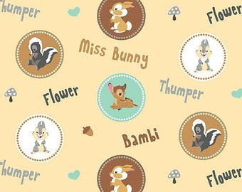 Bambi Flower Thumper and Miss Bunny Childrens Fabric FQ Free Post