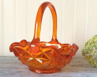 Orange Amberina Pressed Glass Basket Indiana Glass Monticello Pattern