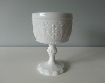 Vintage White Milk Glass Pedestal Compote in Sandwich Pattern by Indiana Glass