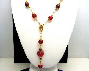 Unusual Vintage Rosary Necklace Red Mixed Beads