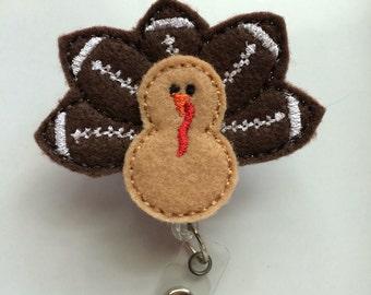 Turkey feathers, Turkey, Football, Badge reel, Badge holder, Retractable badge reel, Nurse badge reel, Teacher gift, Badge reel clip, Badge