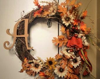 Autumn Floral Monogram Wreath