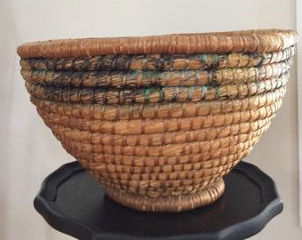 Antique Coil Rye Straw Basket