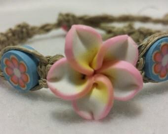 Pink Clay Flower Hemp Bracelet