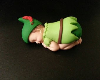 Fondant Peter Pan Baby cake topper for baby shower, birthday