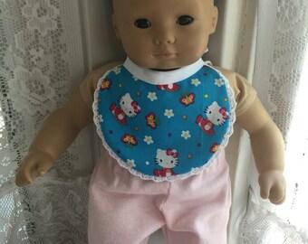 Bitty Baby bib cute bright blue Hello Kitty fabric