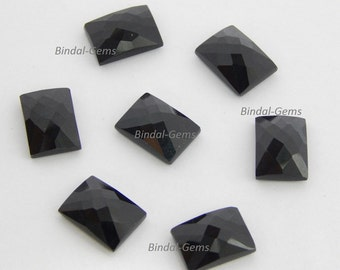 25 Pieces Wholesale Lot Black Onyx Octagon Shape Checker Cut Gemstone for Jewelry
