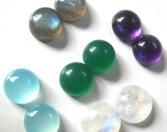 Lot Of Mix Gemstone Labradorite, Amethyst, Aqua Chalcedony, Rainbow moonstone, Green Onyx 8x8 MM Round Cabochon