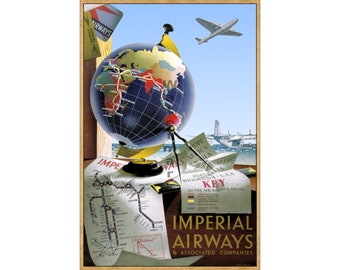 Imperial Airways #4 - Digitally Restored Vintage Air Travel Poster (457985550)