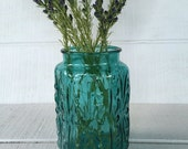 """Vintage Imperial Glass Atterbury Scroll 9"""" teal blue glass jar, turquoise glass apothecary jar, mid century kitchen canister, floral vase"""