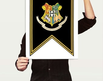Unofficial HP-Inspired Hogwarts School Crest Banner, Harry Potter Party Printable! Instant Digital Download, Three Sizes