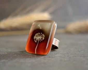Dandelion ring, Orange ring beige, Unique ring, Orange jewelry, Large chunky statement ring, Dandelion jewelry, Nature jewelry