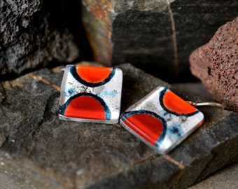 Unique colorful earrings, Square fused glass earrings, Handcrafted art jewelry, Sterling silver earrings, Mother's day gift