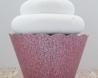 Light Pink Glitter Cupcake Wrappers - Dessert Holders - Standard and Mini Size - Birthdays, Weddings, Showers - Dessert Table - Set of 12