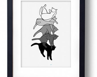 SPECIAL EDITION The Art of Falling - Grey Monochrome Cat Print