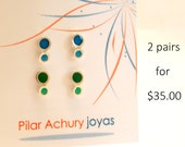 Stud earrings set of 2 pairs -  Sterling Silver Ear Studs - mini stud set -  Spring -  Valentine's Day - Color combination -Blue Green