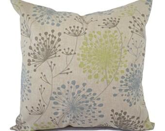 Two Brown Green and Blue Decorative Pillow Covers - Two Floral Throw Pillow Covers - Green Pillows - Spa Blue Pillow - Dandelion Pillow Sham