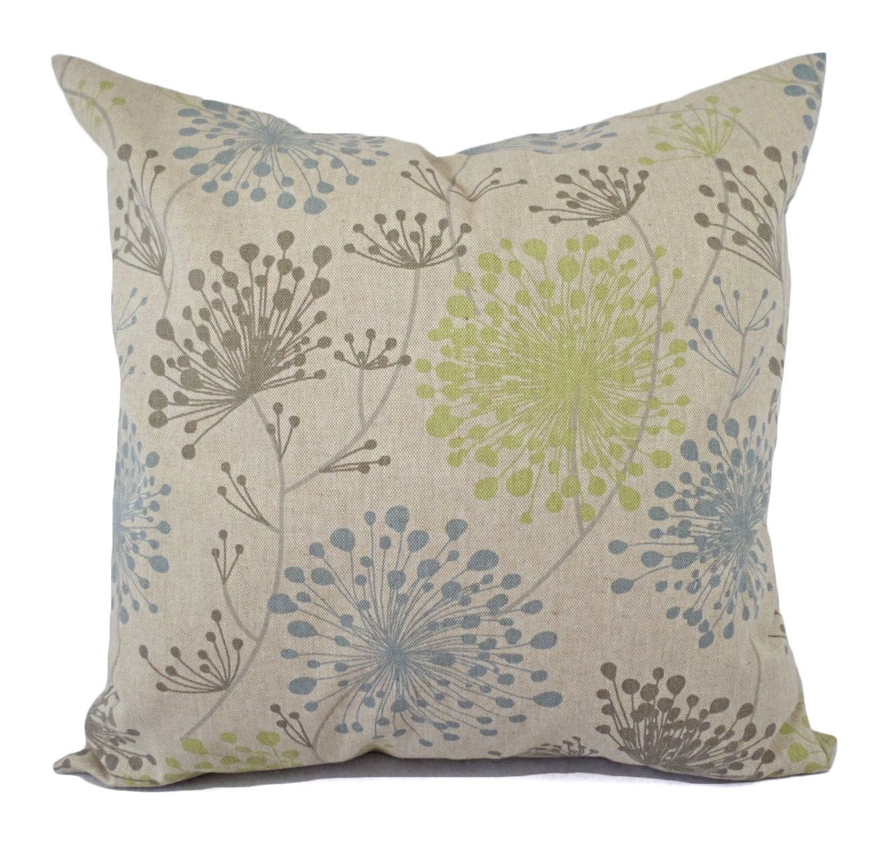 Blue Brown Green Throw Pillows : Two Brown Green and Blue Decorative Pillow Covers Two Floral