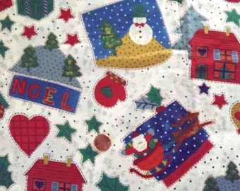 Cotton Fabric~Xmas Santa Heart Tree Mitten Sleigh++~2.3yX45~TIS THE SEASON~JoAnn~Christmas Sewing