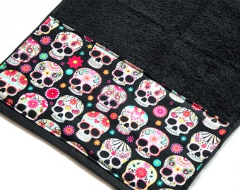 Black Day Of The Dead / Dia De Los Muertos Sugar Skulls Bath Towel 40 cm x 60 cm