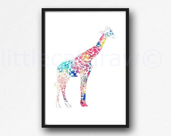 Colorful Giraffe Print Watercolor Animal Print Painting Giraffe Wall Art Colorful Giraffe Giclee Print Unframed