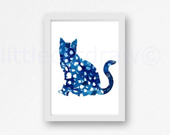 Blue Cat Print Watercolor Painting Cat Lover Art Print Blue Watercolour Abstract Kitty Cat Unframed Cat Art Print