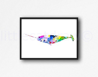 Colorful Narwhal Watercolor Painting Print Bright Fun Colorful Whale Art Watercolor Narwhal Wall Art