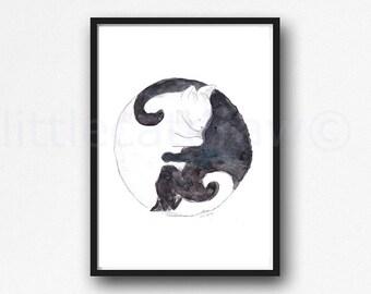 Cat Print Yin Yang Black And White Cats Watercolor Painting Cat Lover Art Print Watercolour Print Watercolour Wall Art Watercolor Wall Decor