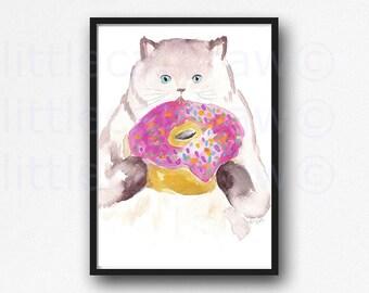 Cat Print Donut Lover Kitty Cat Art Print Cat Eating Donuts Illustration Watercolor Painting Print