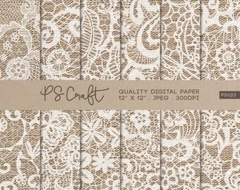 Lace Burlap Digital Papers, Lace Burlap Pattern, Fabric Papers