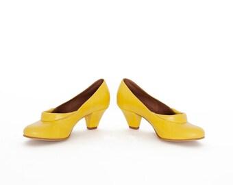 Yellow shoes - Pumps shoes - Leader - Woman shoe - Israeli pumps - Leather shoes woman -Summer shoes - Womens Shoes - UnaUna - Israeli shoes