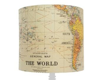Handmade Map of the World Lampshade