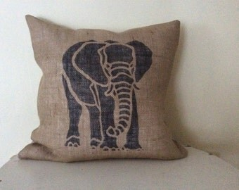 Natural Burlap Pillow Cover with Elephant Print.